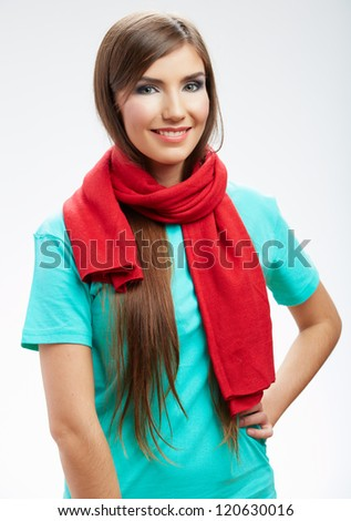 Young smiling happy woman portrait isolated on white.