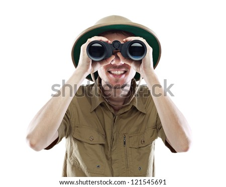 Young smiling man wearing pith helmet looking through binoculars, isolated on white #121545691