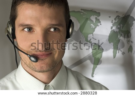 young smiling men operator with headphones portrait