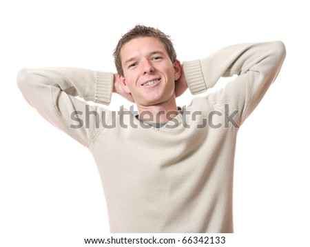 young smiling relaxed man with arms high isolated over white background