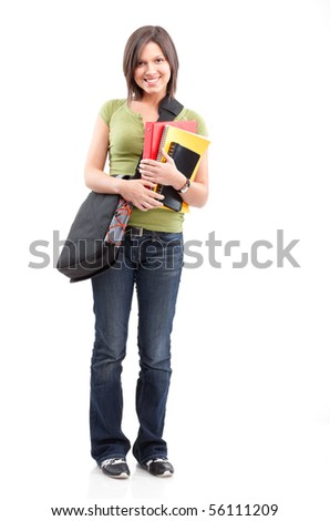 Young smiling  student woman. Over white background - stock photo