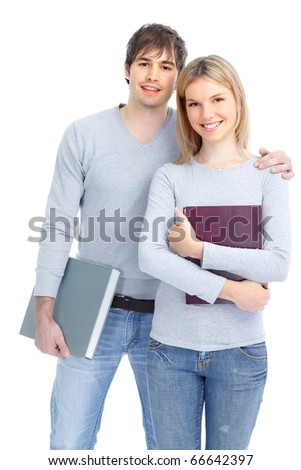 Young smiling  students. Isolated over white background