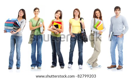 Young smiling  students. Isolated over white background.