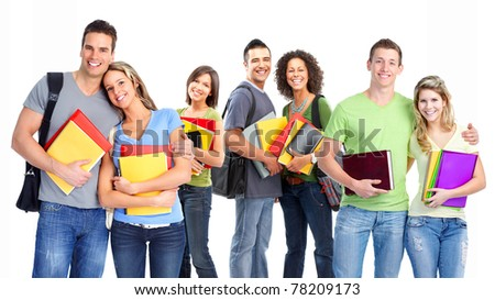 Young smiling  students . Over white background