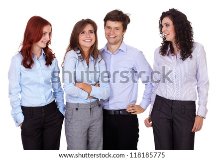 Young smiling successful group of businesswomen and businessman standing together, isolated on white