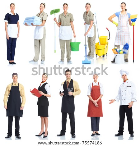 Young  smiling waiter chef and cleaner. Isolated over white background