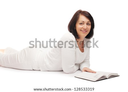 Young smiling woman with book isolated