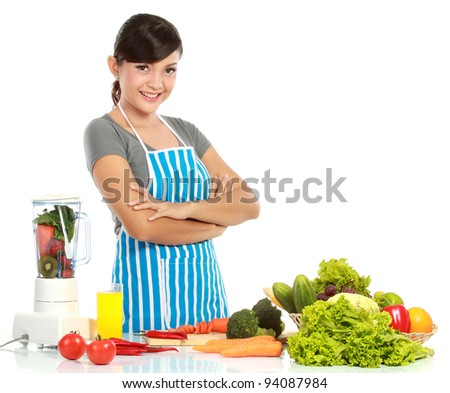 Young smiling woman with healthy food isolated Over white background