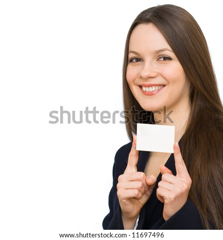 Young smiling woman with the visiting card. Isolated on white background