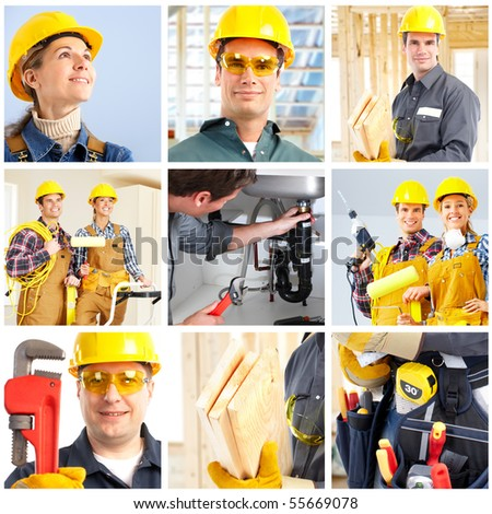 Young smiling workers and builder people - stock photo