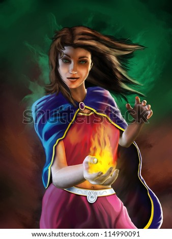 Young sorceress casting a spell surrounded by a magical aura. Digital illustration.
