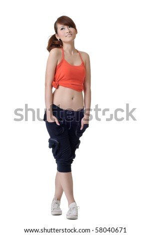 Young sport girl standing and looking copyspace, full length portrait of Asian woman isolated on white background.