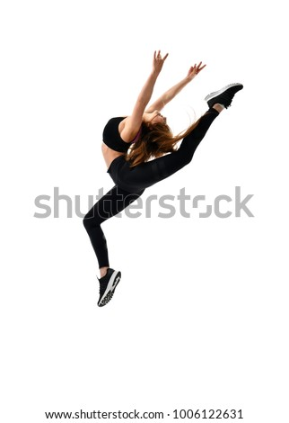 Young sport woman gymnastics doing jumping fitness exercise at sport gym isolated on white background - Shutterstock ID 1006122631