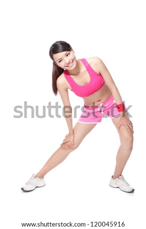 Young sport woman stretches her leg and ready to sport in full length isolated on white background, model is a asian girl