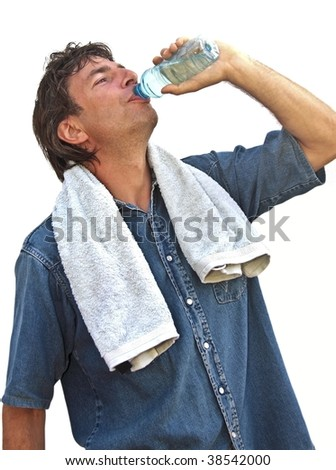 Young sportsman drinking water