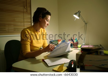 Young student at a desk preparing for an exam