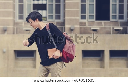Young student college hurry late for class