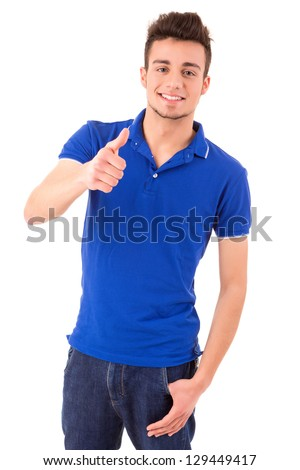 Young student expressing positivity - isolated over white