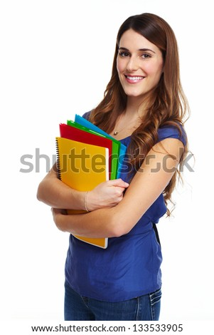 Young Student girl. Isolated on white background.