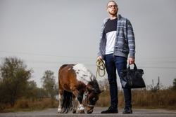 Young student man on his vacation in countryside standing on the road with pony