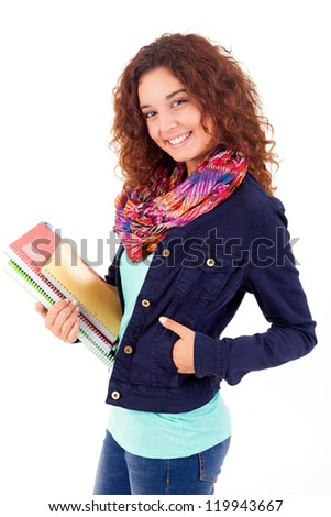 Young student woman posing over white background