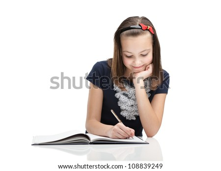 Young student writes a letter, isolated, white background