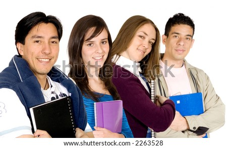 young students at university over a white background