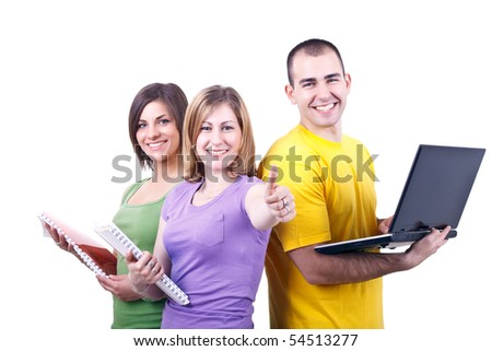 young students posing with books and laptop