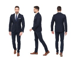Young stylish businessman front rear side view, isolated on white