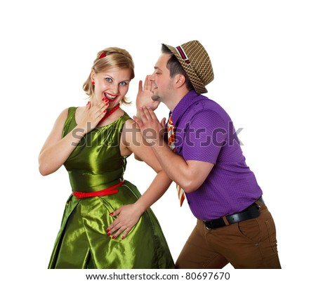 young stylish couple in bright color wear dancing