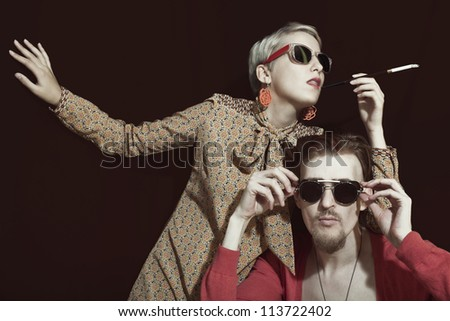 Young stylish couple in sunglasses closeup
