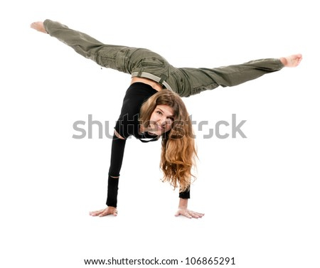 young stylish woman dancing modern ballet dance