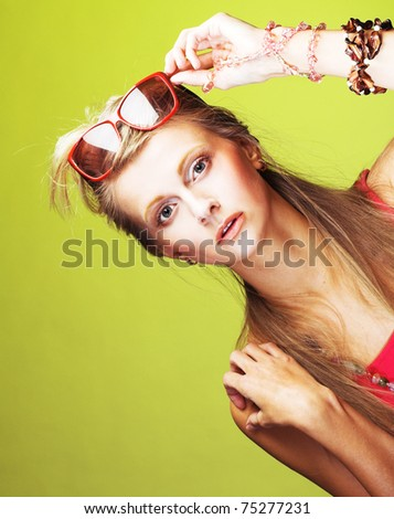 Young stylish woman with  sunglasses #75277231