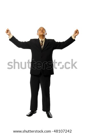 Young Success Fullbody business man isolated on white background