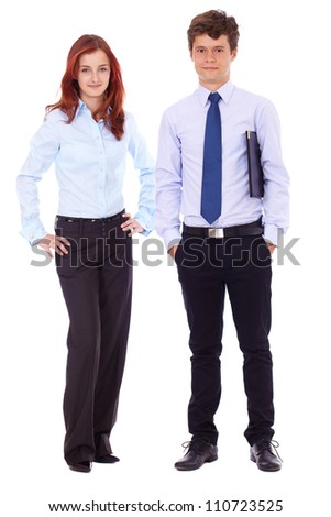 Young successful attractive smiling woman and man in blue shirts, isolated on white