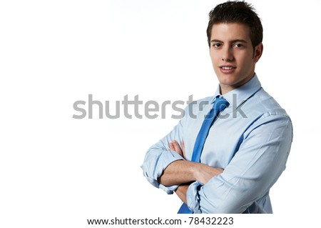 Young successful business man isolated white background with copy space