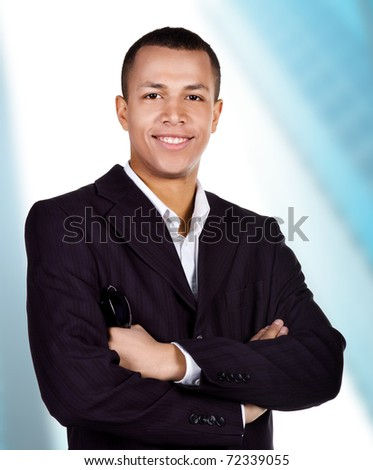 Young successful businessman on a white background