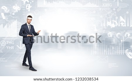 Young suited karate trainer doing karate tricks on the top of a metropolitan city #1232038534