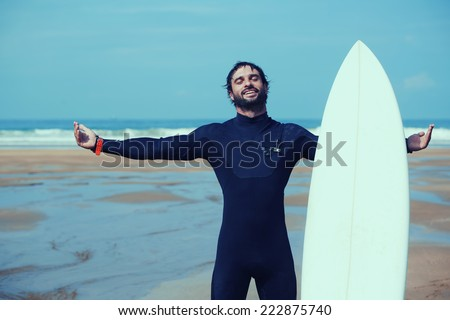 Free photos Young beautiful surfer men on beach with surf board at ... 08e634739