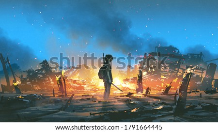 young survivor in the apocalyptic world, digital art style, illustration painting Stock photo ©