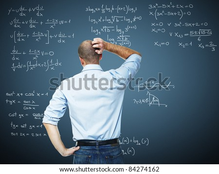 young teacher and blackboard with mat write