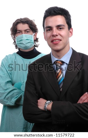 young team, doctor and businessman isolated