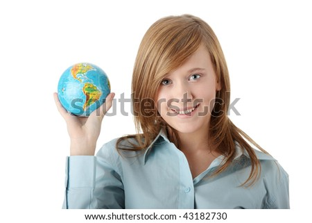 Young teen girl holding globe, isolated on white background