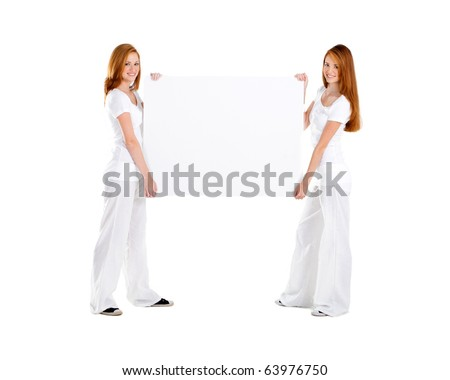 young teen girl holding white board, on white