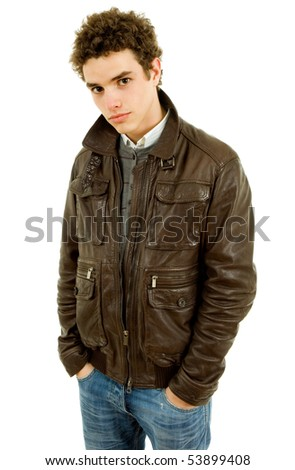 young teen man portrait, isolated on white background
