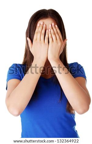 photo of girls hiding face № 13554