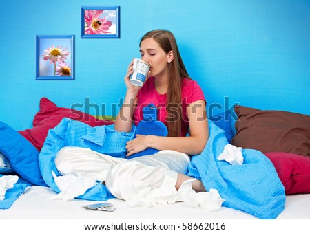 young teenage-woman is sick in bed (my flower photos)