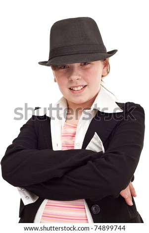 Young teenager girl dressed as a detective, isolated on white