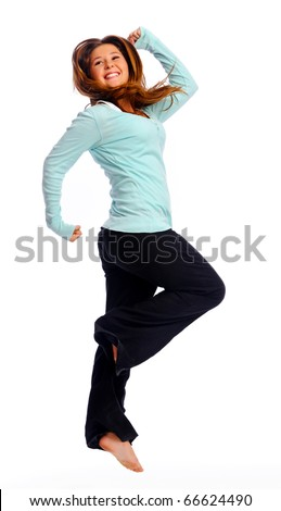 Young teenager jumps and caught in mid air, isolated on white