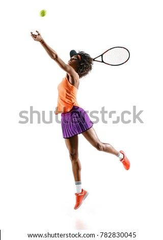 Young tennis girl in silhouette isolated on white background. Dynamic movement